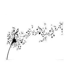 Black Beautiful Music Notation Like Flying Dandelion Flower [dandelion, Taraxacum officinale, Asteraceae]: