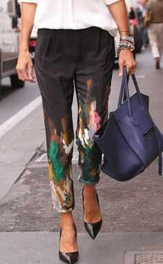 silk painted pants