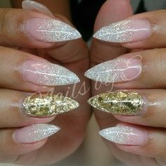 love this glitter ombre HATE pointy nails, uggghhh