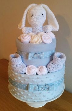 Baby Boy Bunny n Bootys Nappy Cake by April Showers Nappy Cakes Derbyshire.