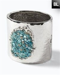 Silver Cuff Adorned With Beads Of Turquoise Stone ... <3<3
