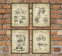 Bicycle Patent Prints Set of 4 - Bicycle Wall Art Posters - Cyclist Gift Idea - Cycling Wall Art - Home Decor
