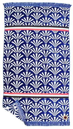 SEAFAN Blue and White Patterned Towel   Ruby Mint