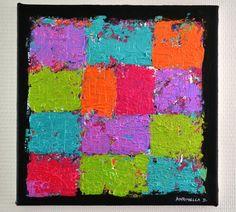 tableau moderne abstrait coloré , tableau contemporain multicolore ...
