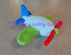 Hand Crochet Airplane Knitted Stuffed Animals, Crochet Animals, Crochet Toys, Dinosaur Stuffed Animal, Hand Crochet, Knit Crochet, Bear Toy, Crochet Patterns, Crochet Ideas