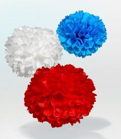 Tissue Paper Pom Poms for Memorial Day or 4th of July party