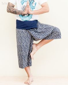 Cropped Thai Fisherman Pants Navy Blue Yoga Capris (Crisscross Diamond Weave) Yoga Capris, Yoga Pants, Thai Fisherman Pants, Hippie Pants, Small Waist, Ethnic Fashion, Criss Cross, Male Models, Weave