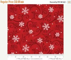 Anniversary Sale Snow Much Fun~Snowflakes Red~Christmas Cotton Fabric by~Moda 19805-15~Fast Shipping HC410