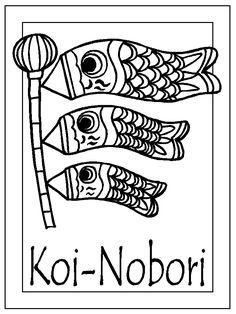 Koi Kite Coloring Page