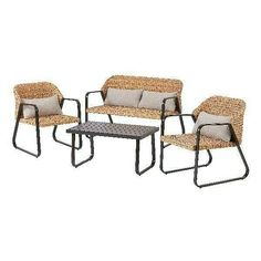 Set features two comfy chairs, a loveseat, and a coffee table. Loveseat: W x D x H. pillow cushions for easy comfort all year long, this patio furniture set is easily wiped down with a damp cloth to maintain. Double Rocking Chair, Rocking Chair Porch, Wicker Chairs, Outdoor Chairs, Patio Furniture Sets, Outdoor Furniture, Outdoor Fire Pit Table, Wood Slats, 3 D