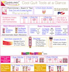 Guidelines4Quilting Product Quick Reference