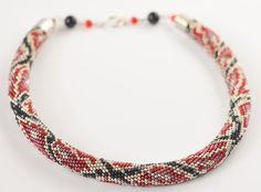 Red python beaded necklace, luxary necklace with animal pattern, snake skin necklace, statement necklace, elegant women necklace, gift by MariaBeadsDesign on Etsy