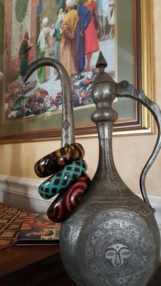Painted wooden bracelets from Gaziantep, Turkey- antique pitcher not included!