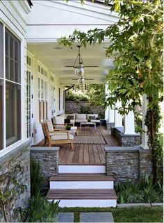 Like use of stone and separting deck from yard