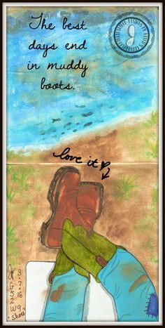 """2016 Gratitude 52 Art Journaling Project Week9 """"Shoes on Your Feet"""" http://www.nelliesgranddaughter.org/g52_2016.html"""