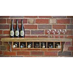 Rustic Wooden Wine Rack Shelf · 7 Bottle · | Rustic Wine Racks | Yester Home