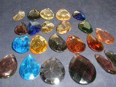 """Vintage lot 22 pieces Multicolor glass drop Prisms for chandelier part 2.5""""to 3"""""""
