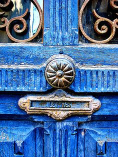 ♅ Detailed Doors to Drool Over ♅ art photographs of door knockers, hardware & portals - antique bright blue door.