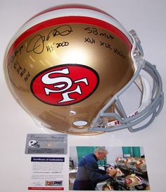 Jerry Rice San Francisco 49ers Signed Autograph Mini Helmet HOF 2010 INSCRIBED Steiner Sports Certified