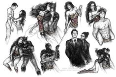 Bruce and Diana (sketch dump) by jasric on DeviantArt