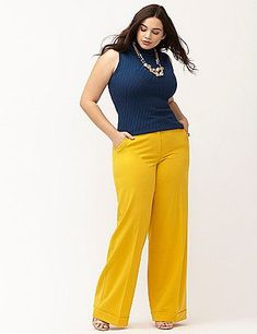 Yellow plus size dresses are in great demand among the plus size women who want to look stunning and beautiful in yellow clothes. Curvy Fashion, Look Fashion, Girl Fashion, Plus Fashion, Autumn Fashion, Gothic Fashion, Womens Fashion, Look Plus Size, Plus Size Pants