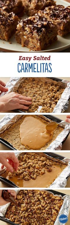 Easy Salted Carmelitas: We all love the original Oatmeal Carmelitas (a favorite from the 1967 Pillsbury Bake-Off®), so we hacked the recipe with ready-to bake dough to create these irresistible oatmeal cookie bars filled with gooey salted caramel and studded with chocolate.