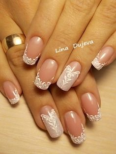 french nails short White in 2020 Wedding Nail Polish, Bridal Nail Art, Wedding Nails Design, French Manicure Nails, French Tip Nails, Beautiful Nail Art, Gorgeous Nails, Nail Polish Designs, Nail Art Designs