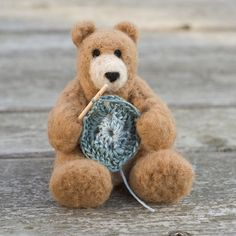 Needle Felted Bear  Crocheting by scratchcraft on Etsy, $27.00