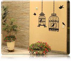Adesivo gaiola e pássaros decorar