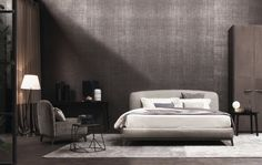 Olivier Bed Pelle intrecciata by Flou by Opera Design for Flou