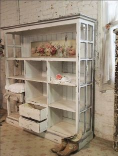 Shelving unit with windows...would look great in a lofty apartment