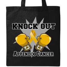 Knock Out Appendix Cancer Tote Bag - Black | Cancer Shirts | Disease Apparel | Awareness Ribbon Colors