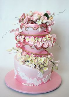 Turvey Teacups - by CourtHouse Cake Company @ - cake decorating website Gorgeous Cakes, Pretty Cakes, Amazing Cakes, Take The Cake, Love Cake, Bolo Floral, Fondant, Fancy Cakes, Pink Cakes