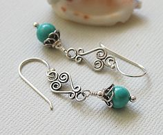 Turquoise Sterling Silver Beaded Earrings by BeguiledByTheBead, £10.00