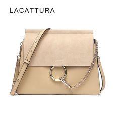 LACATTURA Hot Sale Famous Brand Design Women Handbag High Quality Genuine  Cowhide Leather Cloe Bag Casual e398eb4ce246a