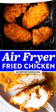 This Air Fryer Fried Chicken comes out beyond crispy on the outside, while the meat on the inside stays so juicy! It's a great and mess-free way to make this family favorite dinner. Quick, easy and delicious! | #airfryerrecipes #airfryer #chicken #friedchicken #chickenrecipes #chickenfoodrecipes #chickendinner #easydinner #easydinnerrecipes #easyrecipesforbeginners #easyrecipes Air Fryer Fried Chicken, Crispy Baked Chicken, Fried Chicken Recipes, Breaded Chicken, Easy Family Dinners, Quick Easy Meals, Easy Recipes For Beginners, Delicious Dinner Recipes, Delicious Food