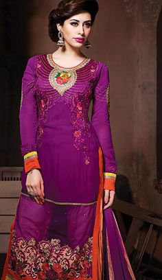 Indian Traditional Magenta Georgette A Line Suit