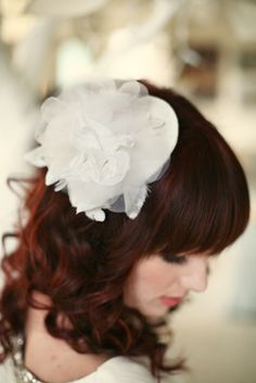 Love her hair color and the LoBoheme wedding hair pieces.
