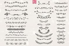 Hand Drawn Doodle Dividers by Katy Clemmans on @creativemarket