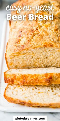 This Beer Bread recipe is easy to make in one bowl and uses only a few simple ingredients to make a hearty, tender quick bread with a delicious crust that is so flavorful! Easy Baking Recipes, Fun Easy Recipes, Popular Recipes, Cooking Recipes, Delicious Recipes, Cooking Stuff, Beer Cheese Bread Recipe, Honey Beer Bread, No Yeast Bread
