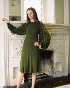 Late #1930s bishop sleeve crepe and silk velvet dress - New online. #Film #Devorevintage
