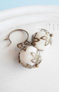 Handmade Beaded Earrings Soft Ivory Striped
