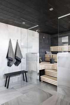 Modern House - Marble Tile - Sauna Design - Steam Room - Home Spa Scandinavian Bathroom, Scandinavian Modern, Interior Exterior, Interior Architecture, Sauna Design, Finnish Sauna, Sauna Room, Sauna House, Sauna Steam Room