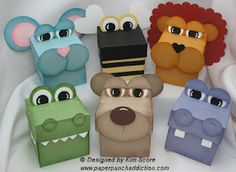 Animal treat boxes designed by Kim Score - for purchase 3d Paper Projects, 3d Paper Crafts, Craft Projects, Paper Punch Art, Punch Art Cards, Hamburger Box, Craft Punches, Craft Box, Kids Cards