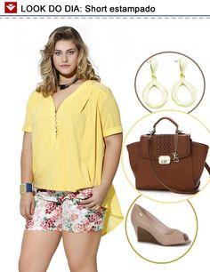 Look do dia: short estampado com blusinha amarela! Para arrematar o look, apostamos nos tons terrosos e básicos: anabela nude, bolsa de mão marrom e brincos brancos com toques de dourado! Gostaram?
