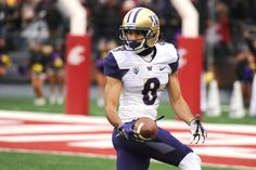 Nov 25, 2016; Pullman, WA, USA; Washington Huskies wide receiver Dante Pettis (8) scores a touchdown against the Washington State Cougars during the first half at Martin Stadium.  (2908×1938)
