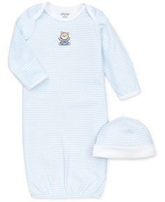 Bundle him up in this cap and bear gown from Little Me for a day of happy hibernation inside!   Cotton   Machine washable   Imported   Little Me baby boys' two-piece set   Hat: chevron print; solid cu