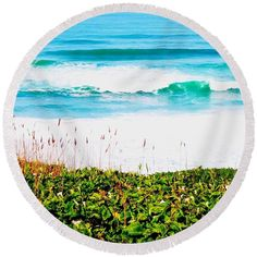 Ocean Round Beach Towel featuring the photograph The View Of The Arum Lily 01 by Dora Hathazi Mendes #arumlily #ocean #roundie #dorahathazi