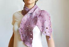 Purple pink urban romantic scarf hand felted  by CityCrochet, $45.00