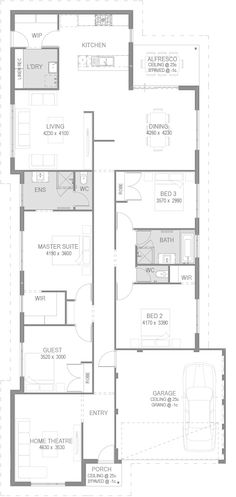 The Oakleigh Floorplan by GO Homes 4 Bedroom House Plans, House Floor Plans, Porch Ceiling, Floor Plan Layout, Cottage Plan, Storey Homes, Natural Building, House Layouts, Little Houses
